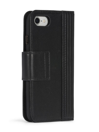 Diesel - BLACK LINED LEATHER IPHONE 8 PLUS/7 PLUS FOLIO, Noir - Coques à rabat - Image 7
