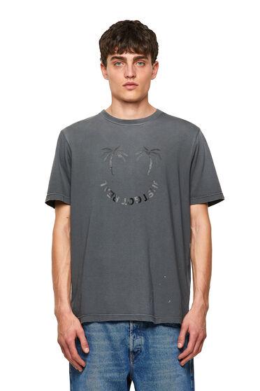 T-shirt délavé avec imprimé palmiers