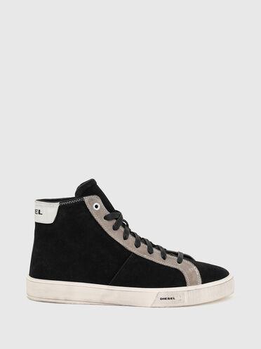 Sneakers montantes en daim traité