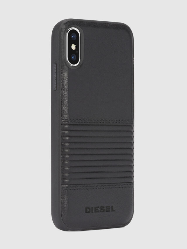 Diesel - BLACK LINED LEATHER IPHONE X CASE, Cuir Noir - Coques - Image 5