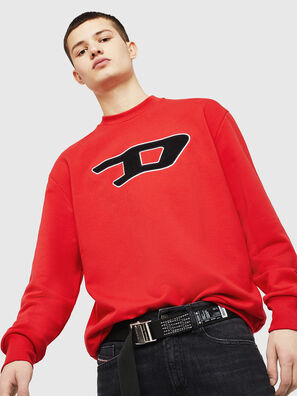 S-CREW-DIVISION-D, Rouge Flamme - Pull Cotton