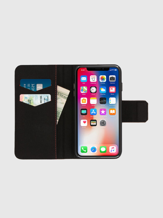 BLACK LINED LEATHER IPHONE X FOLIO, Noir