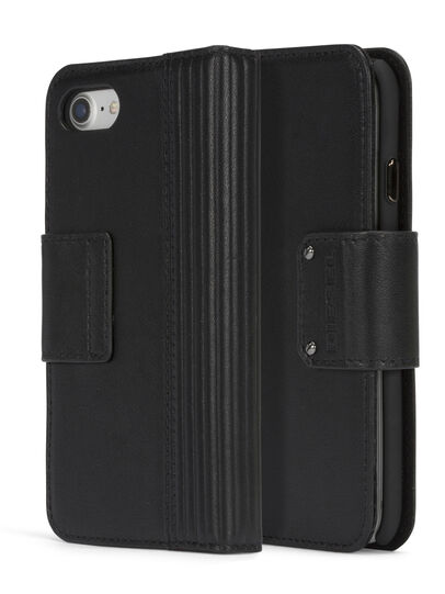 Diesel - BLACK LINED LEATHER IPHONE 8 PLUS/7 PLUS FOLIO, Noir - Coques à rabat - Image 3