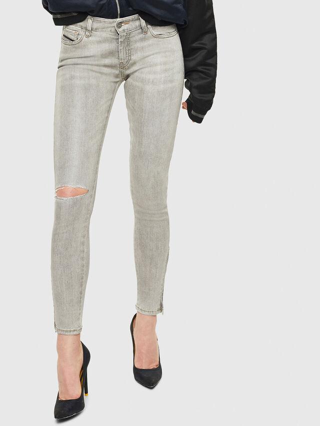 Diesel - Slandy Zip 086AE, Gris Clair - Jeans - Image 1