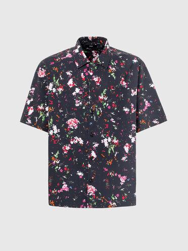 Chemise à col cavalier avec imprimé floral