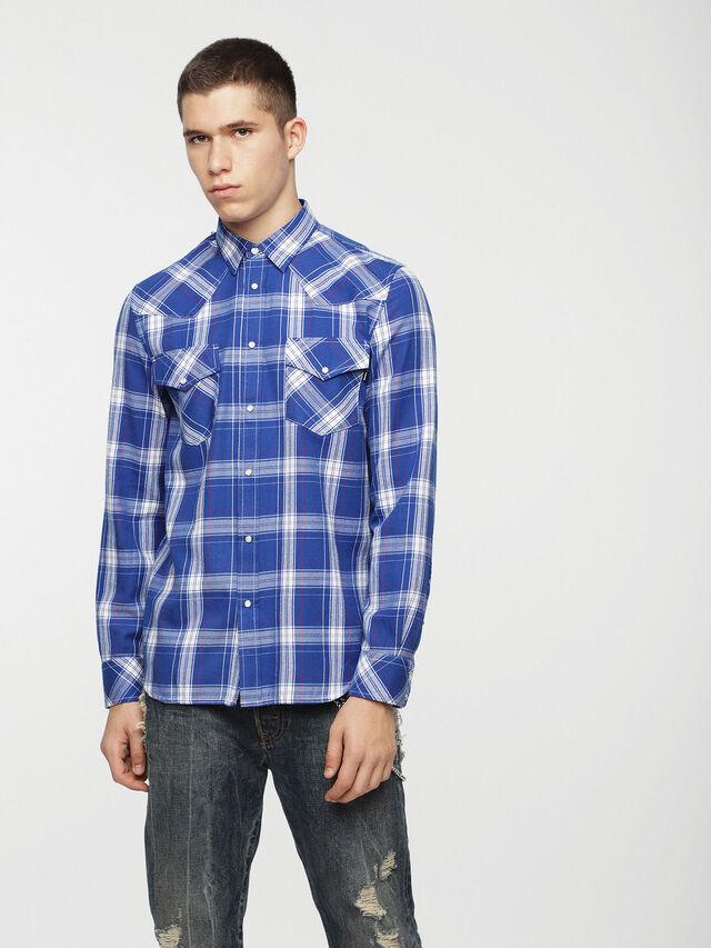 Diesel - S-EAST-LONG-C, Bleu/Blanc - Chemises - Image 1