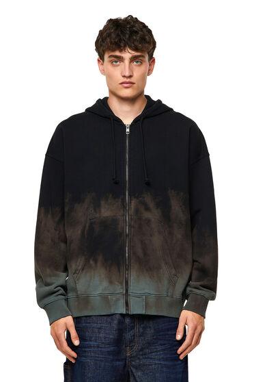 Sweat-shirt à capuche zippé teint par immersion avec broderie