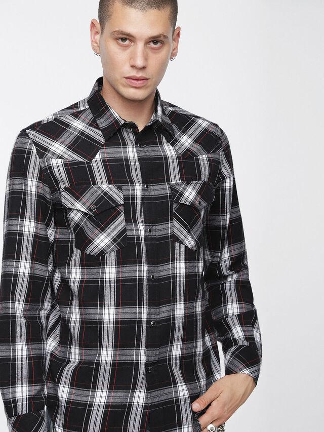 Diesel - S-EAST-LONG-C, Noir/Blanc - Chemises - Image 1