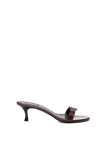 Sandales en cuir croco embossé