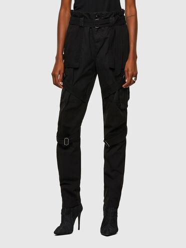 Pantalon cargo en sergé et toile avec ceinture