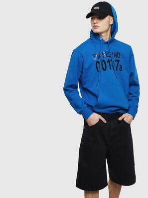 S-GIRK-HOOD, Bleu - Pull Cotton