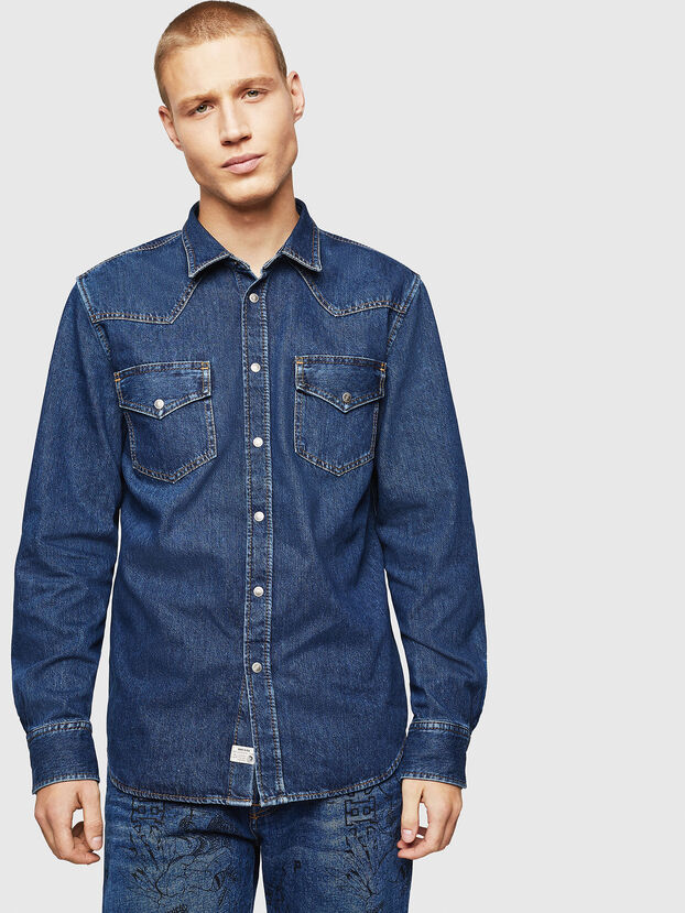 D-EAST-P, Bleu moyen - Chemises en Denim