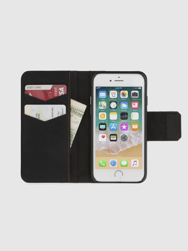 Diesel - BLACK LINED LEATHER IPHONE 8/7 FOLIO, Noir - Coques à rabat - Image 7