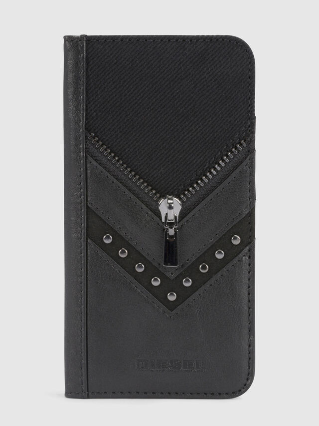 BLACK DENIM/STUD/ZIPPER IPHONE X FOLIO, Noir