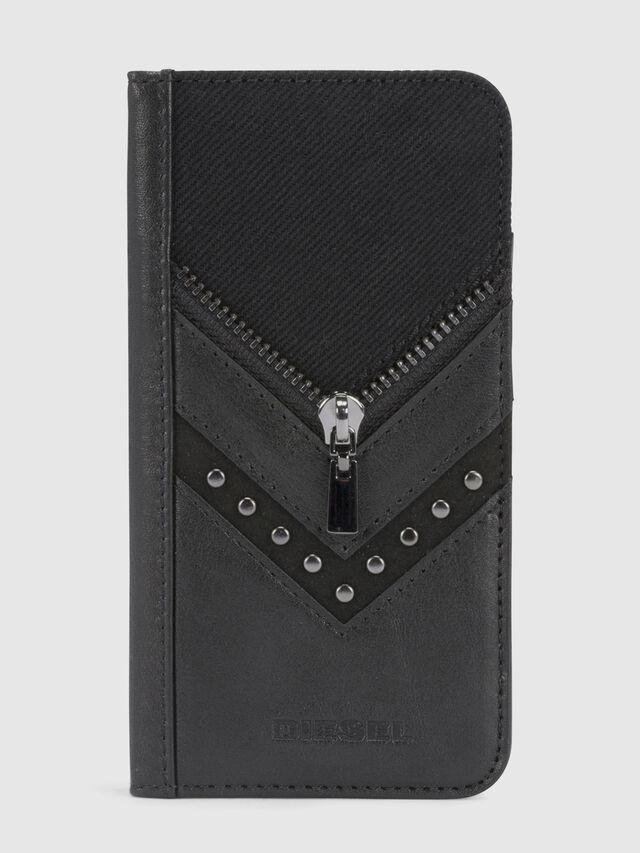 Diesel - BLACK DENIM/STUD/ZIPPER IPHONE X FOLIO, Noir - Coques à rabat - Image 2