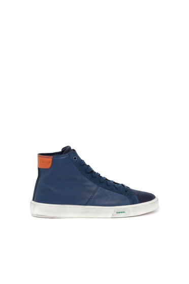 Sneakers montantes en cuir poli