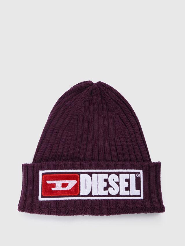Diesel - K-CODER-B, Bordeaux - Bérets, chapeaux et gants - Image 1