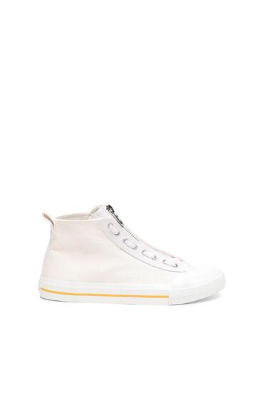 Sneakers montantes en denim lavé
