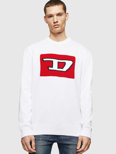 Diesel - K-LOGOX-B, Blanc - Pull Maille - Image 1