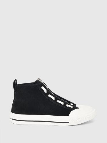 Sneakers montantes en cuir et en daim