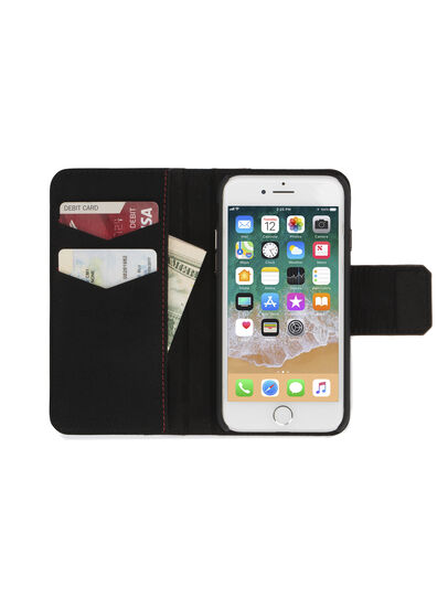Diesel - BLACK LINED LEATHER IPHONE 8 PLUS/7 PLUS FOLIO, Noir - Coques à rabat - Image 4