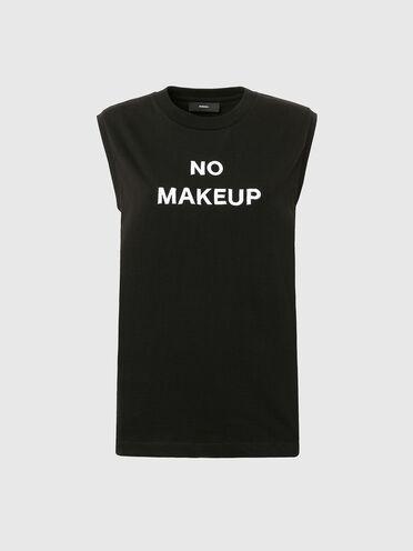 T-shirt sans manches avec slogan NoMakeup