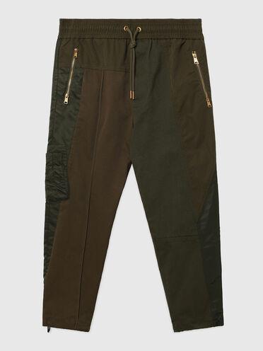 Pantalon en sergé, toile et satin