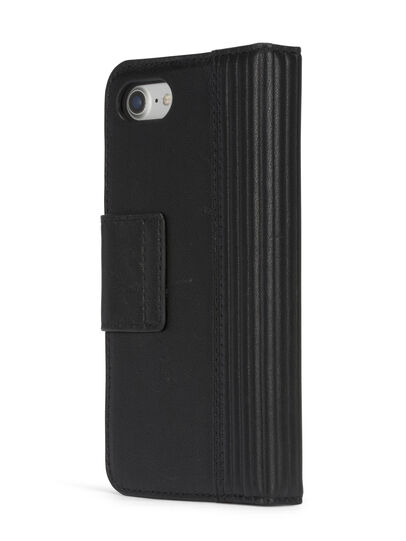 Diesel - BLACK LINED LEATHER IPHONE 8 PLUS/7 PLUS FOLIO, Noir - Coques à rabat - Image 6