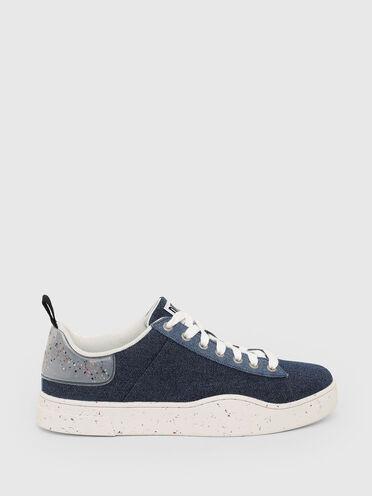 Sneakers en denim label vert
