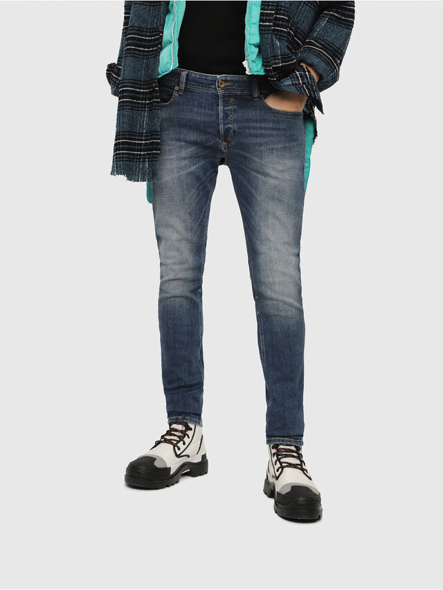 Diesel - Sleenker 082AB, Bleu Foncé - Jeans - Image 1
