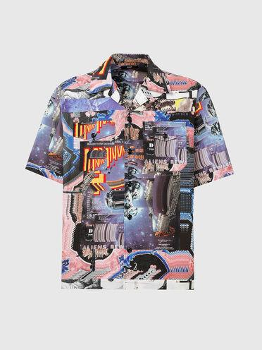 Chemise à col cavalier avec imprimé intégral