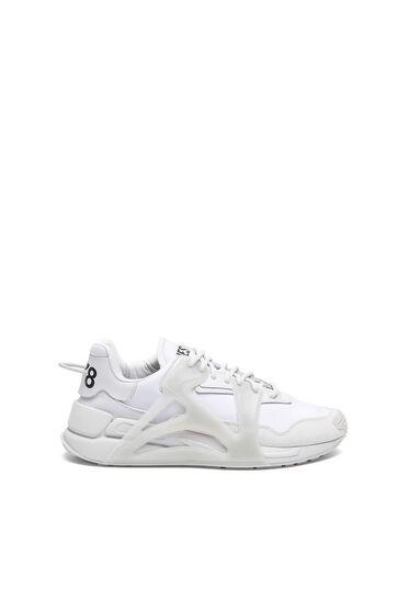 Sneakers superposées en nylon et en cuir