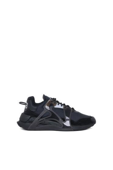 Sneakers en couches superposées en nylon et cuir suédé