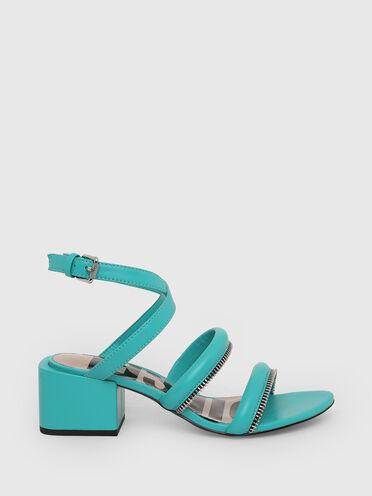 Sandales à demi-talon avec détail zippé
