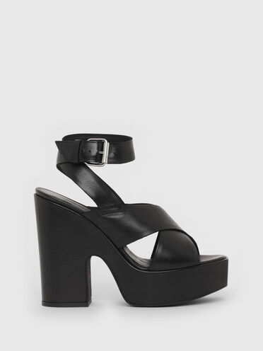 Sandales à plateforme en cuir