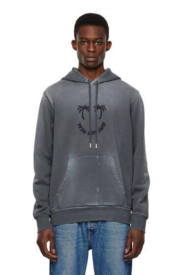 Sweat-shirt à capuche avec broderie palmier