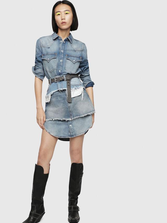 18cebdbde34 DE-DESY-P Femme  Robe chemisier avec mini-jupe