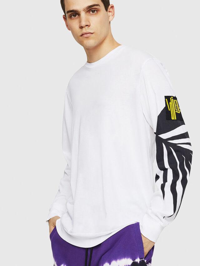 Diesel - T-JUST-LS-RIB, Blanc - T-Shirts - Image 1