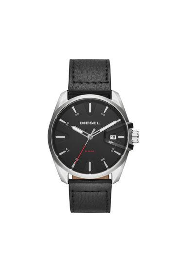 MS9 Chrono montre noire avec bracelet en cuir, 44mm