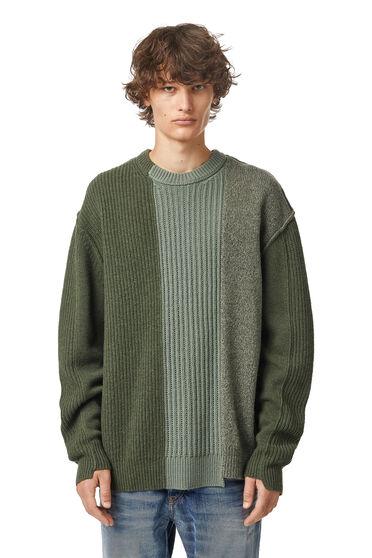 Pull patchwork asymétrique en laine