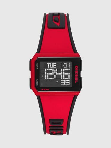 Montre Chopped numérique en silicone rouge