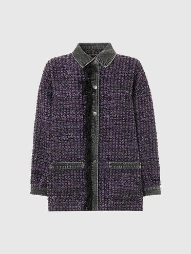 Chemise en laine bouclée et dénim avec boutons-pression