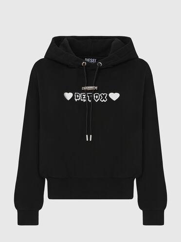 Sweat-shirt à capuche avec imprimé Detox et broderie