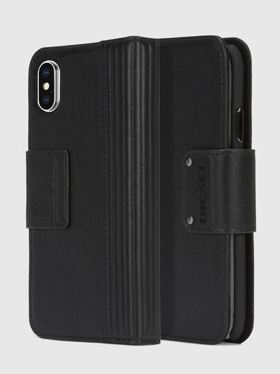 Diesel - BLACK LINED LEATHER IPHONE X FOLIO,  - Coques à rabat - Image 1
