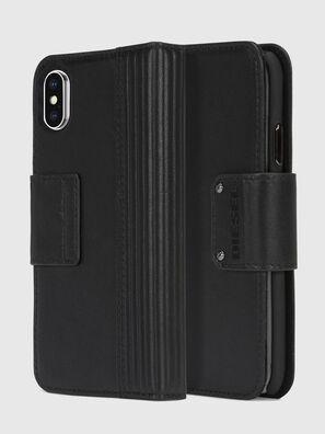 BLACK LINED LEATHER IPHONE X FOLIO, Noir - Coques à rabat