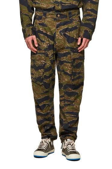 Pantalon cargo à imprimé camouflage et tigre