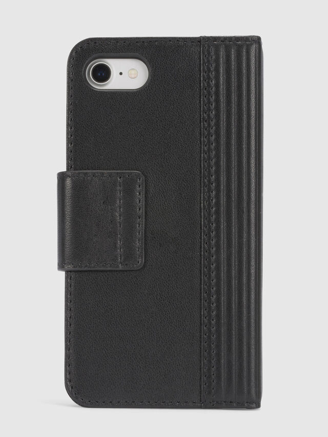 Diesel - BLACK LINED LEATHER IPHONE 8/7 FOLIO, Noir - Coques à rabat - Image 4