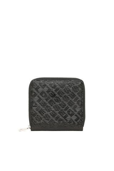 Portefeuille zippé avec logo embossé