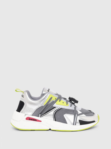 Sneakers en mesh et en cuir métallisé