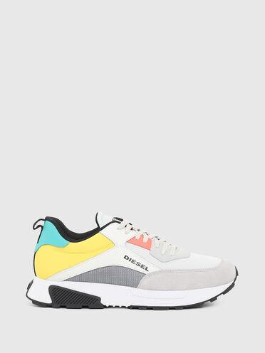 Sneakers en mesh, daim et cuir
